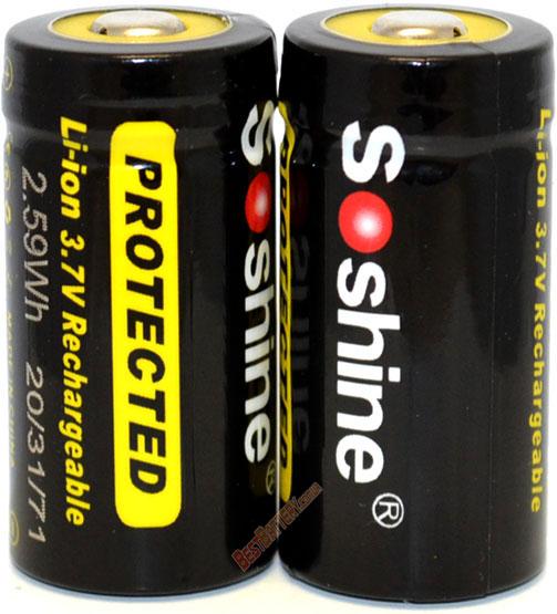 Аккумулятор Soshine 700 mAh 3.7V 16340 (RCR123) с защитой (Protected).