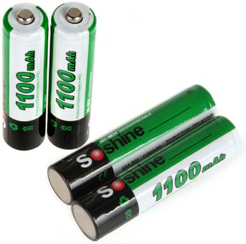 Минипальчиковые аккумуляторы Soshine 1100 mAh AAA поштучно.