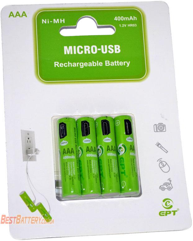 Soshine (EPT) 400 mAh USB Ni-Mh минипальчиковые аккумуляторы со встроенным micro USB портом для подзарядки, в блистере.
