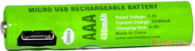 Soshine AAA 400 mAh USB - встроенное зарядное устройство с micro USB выходом.