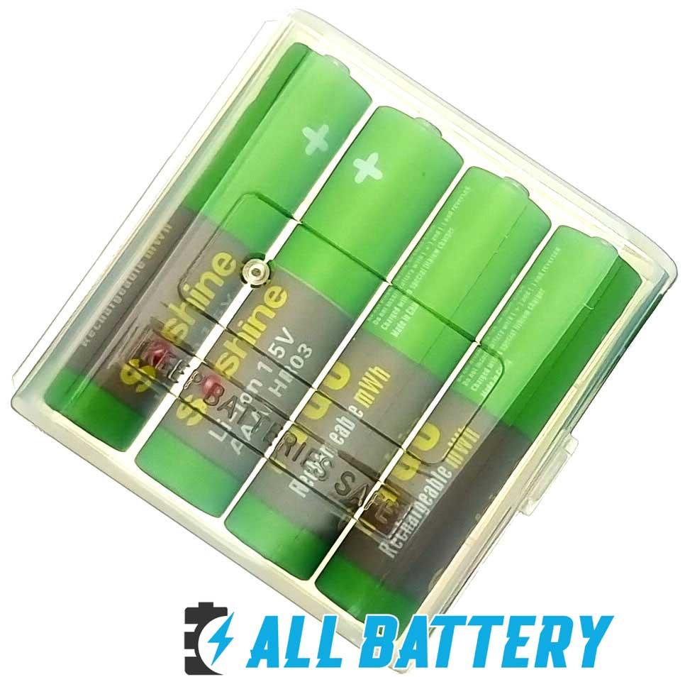 Аккумуляторы на 1,5 вольта Soshine Li-Ion 1.5V 1100 mWh в боксе для хранения.