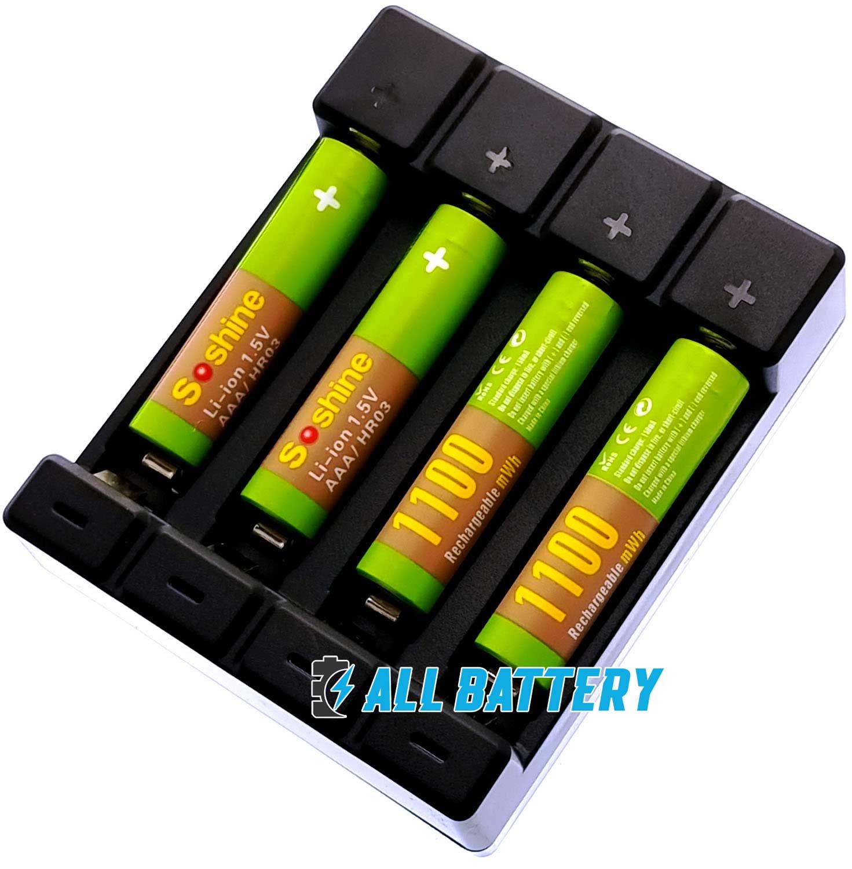 Комплект USB зарядное устройство Soshine Chocolate-1.5V и 4 ААА аккумулятора Soshine 1.5V Li-Ion 1100 mWh