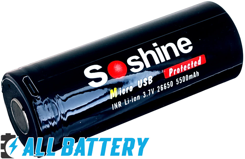 Встроенное зарядное устройство через micro-USB в Soshine 26650 USB 5500 mAh 3.7V.