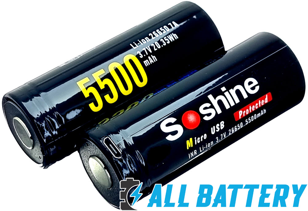 USB аккумуляторы 26650 Soshine 5500 mAh Li-Ion  - литий-ионные аккумуляторы формата 26650.