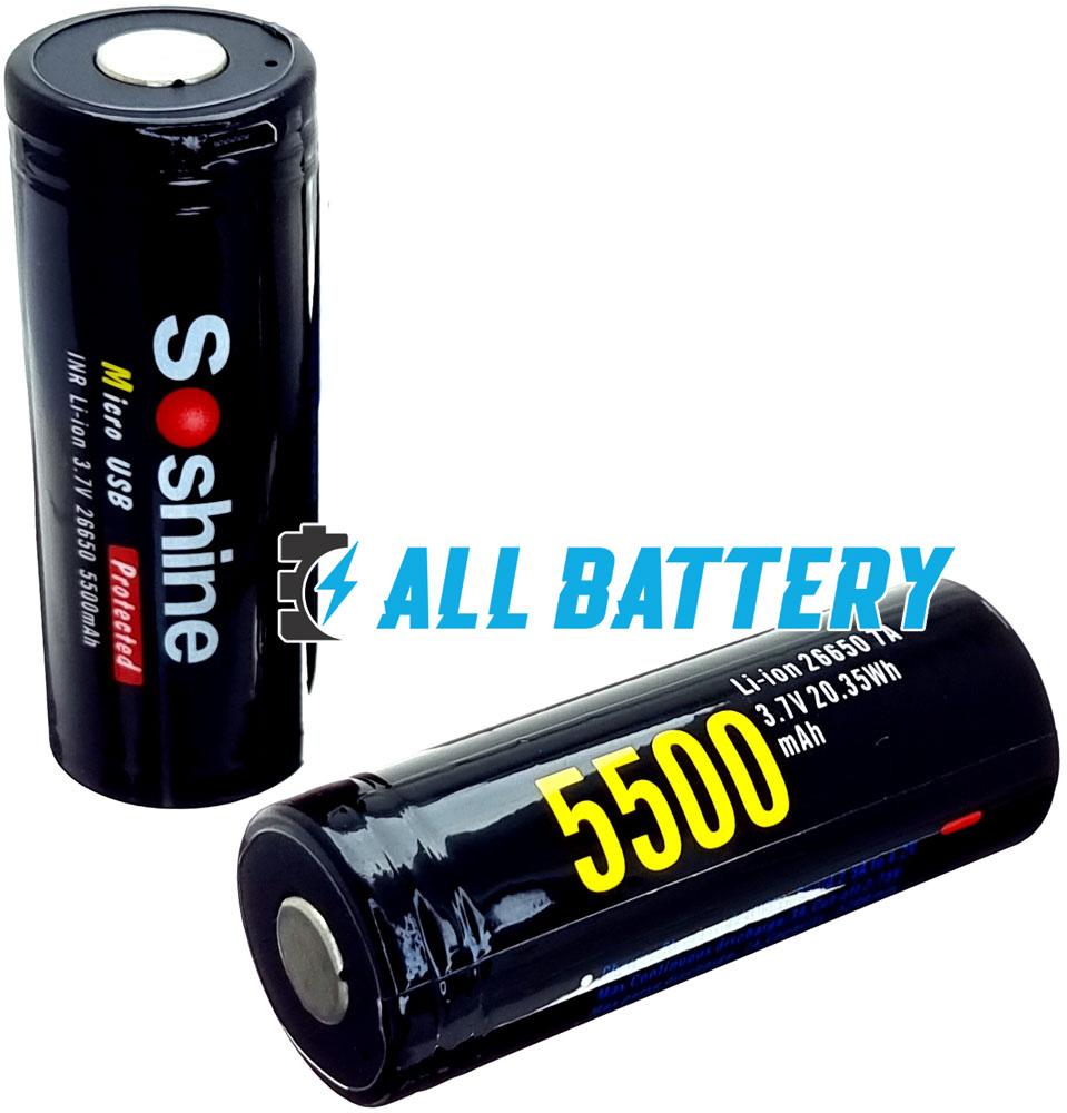 Аккумулятор 26650 USB Soshine 5500 mAh Li-Ion 3.7В, 7A. Со встроенным USB зарядным, с защитой.