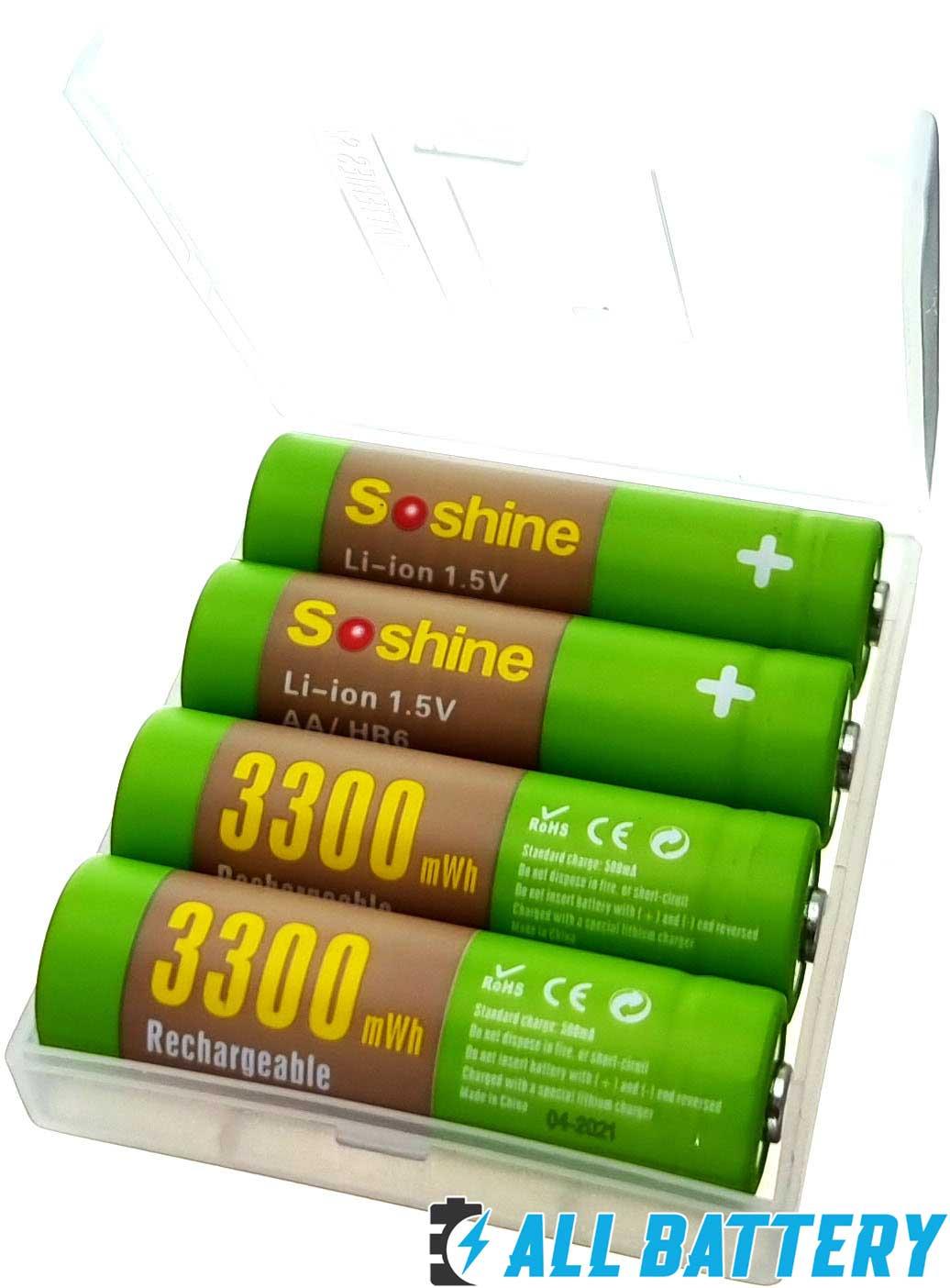 Soshine Li-Ion 1.5V AA 3300 mWh 4 шт. в боксе  - пальчиковые литий-ионные аккумуляторы нового поколения на 1,5В.