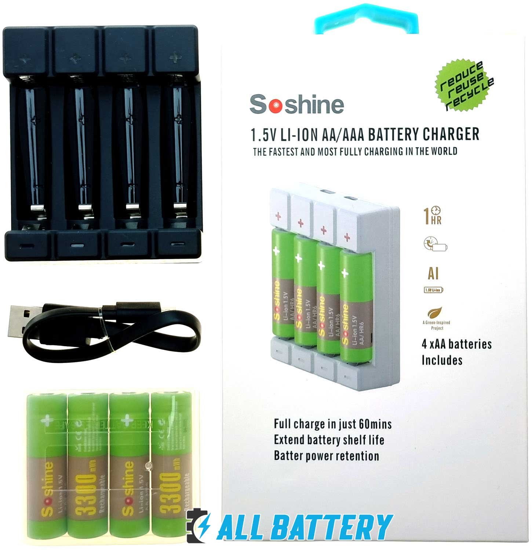 Комплект зарядное Soshine USB Chocolate 1.5V и 4 шт. АА аккумулятора Soshine Li-Ion 1.5В 3300 mWh.