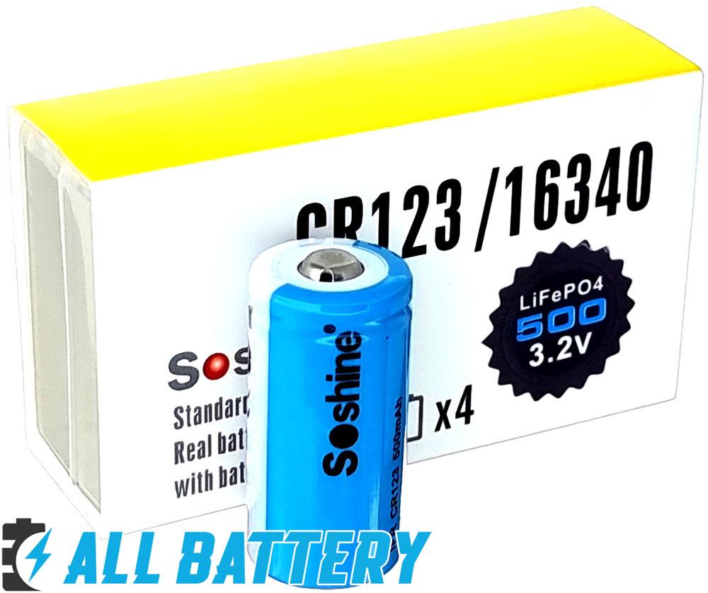Аккумуляторы IFR Soshine 16340 500mAh 3V (3.2V) без защиты.