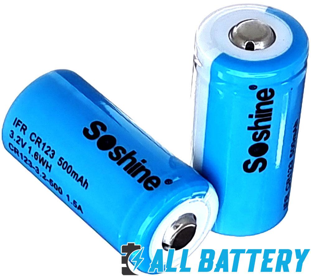 Аккумулятор 16340 / CR123 Soshine 500 mAh 3,2В, 1,5A, LiFePO4 (IFR) Без защиты.