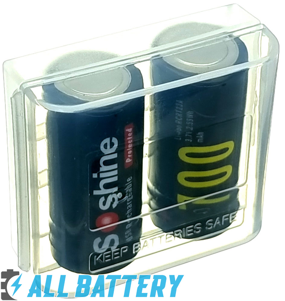 Soshine USB 16340 700mAh 3,7V Protected бокс для хранения на 2 шт.