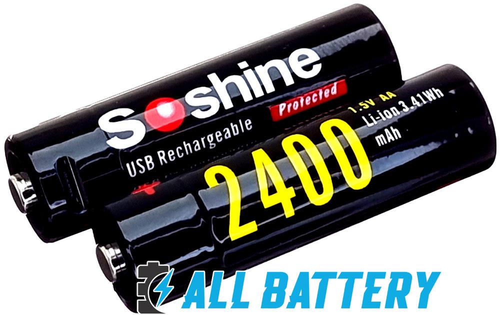 Soshine USB Li-Ion 1.5V AA 2400 mАh - пальчиковые аккумуляторы нового поколения на 1,5В.