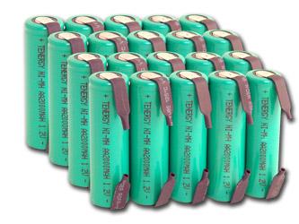 Аккумуляторы Tenergy 2000 mAh Solder Tags - с лепестками под пайку (АА)