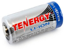 Tenergy RCR123A 3.0V 600 mAh Li-ion аккумулятор формата 16340 с защитой.