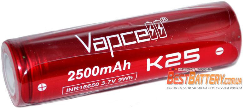 VapCell INR 18650 K25 RED 2500 mAh - высокотоковый Li-ion аккумулятор без защиты 20А (35A).
