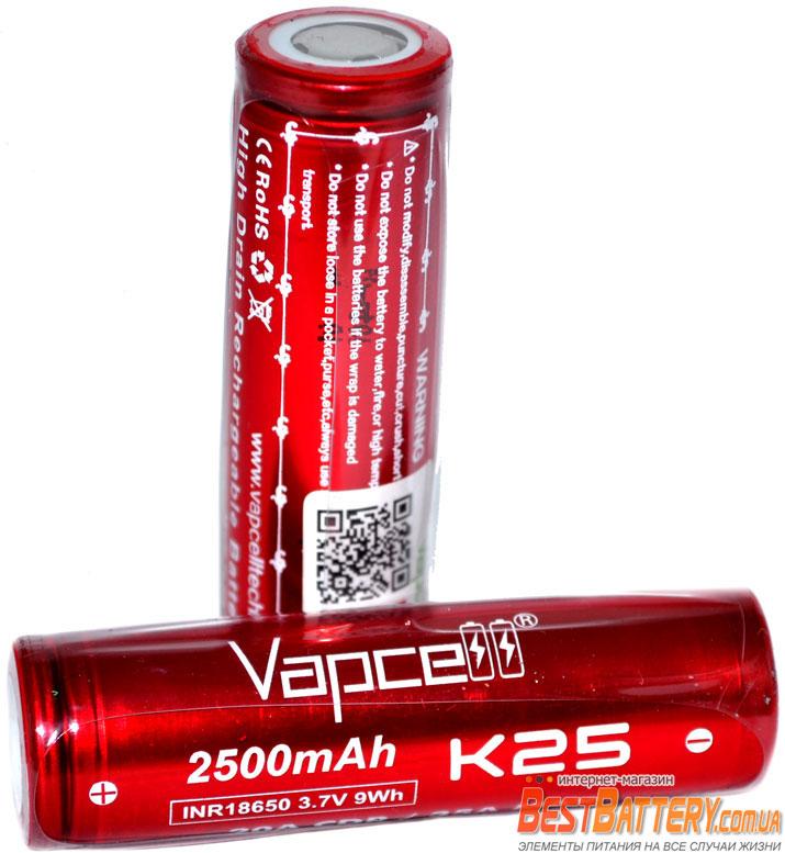 Аккумуляторы Vapcell INR 18650 K25 2500 mAh 20A (35А) Red.