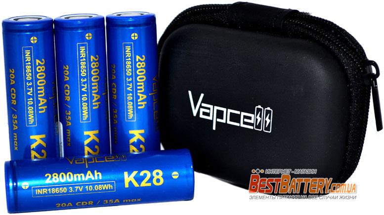 VapCell INR 18650 K28 Blue 2800 mAh высокотоковые INR Li-Ion аккумуляторы.