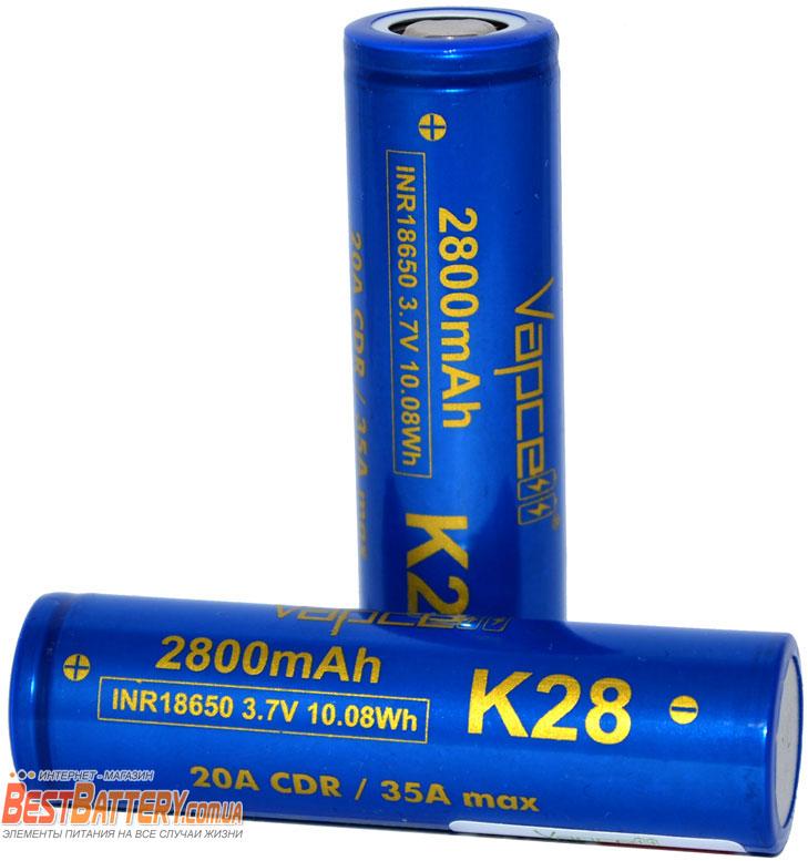 Аккумуляторы Vapcell INR 18650 K28 2800 mAh 20A (35А).