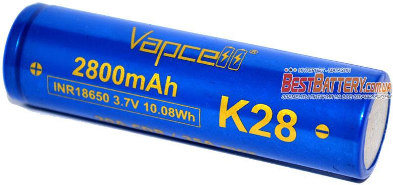 Аккумуляторы 18650 Vapcell K28 3.7V 2800 mAh Blue 20A (35A).