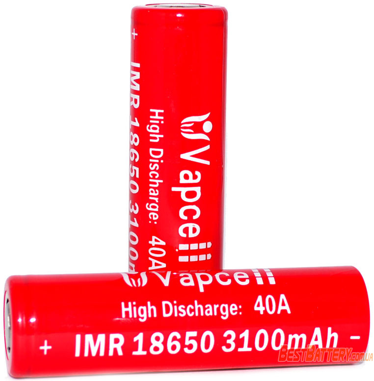 VapCell 3100 mAh 3.7V, 20А (40А) - высокотоковые Li-Ion IMR аккумуляторы 18650.
