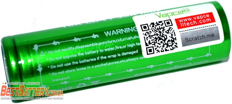 QR код проверки на аккумуляторах Li-Ion Vapcell 18650 F35 3500 mAh 10A (20A).