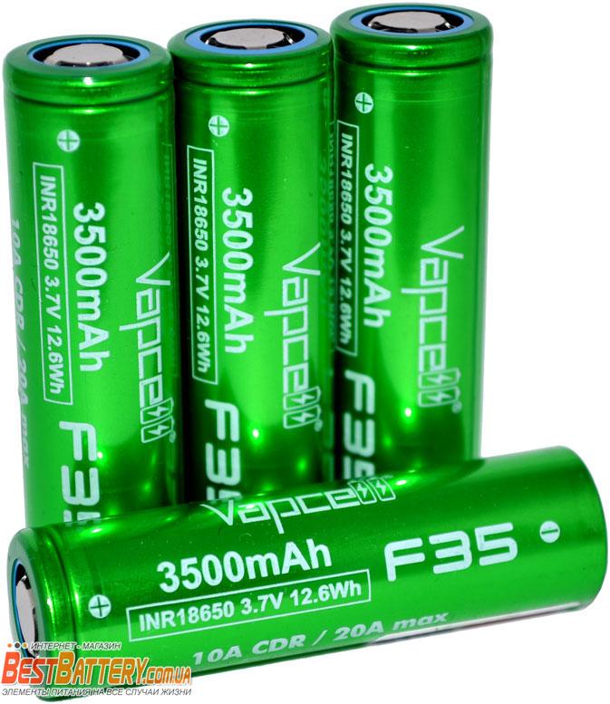 Аккумуляторы Vapcell INR 18650 F35 3500 mAh 10A (20А) Green.