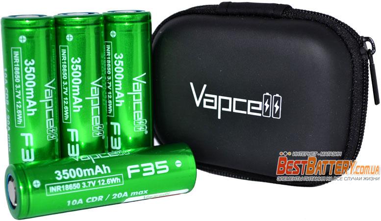 VapCell 18650 F35 GREEN 3500 mAh INR Li-Ion аккумулятор без защиты.