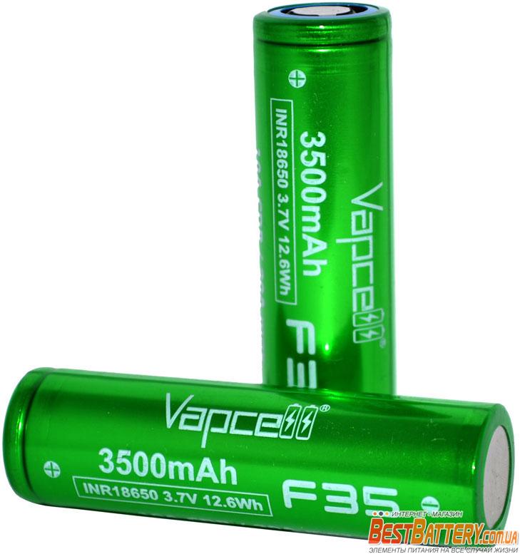 VapCell F35 18650 3500 mAh INR Green 10A (20A) - литий-ионные аккумуляторы формата 18650 с высокой ёмкостью.