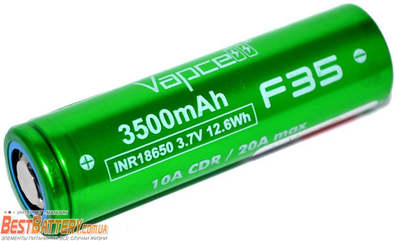 Аккумуляторы 18650 Vapcell F35 3.7V 3500 mAh Green 10A (20A).