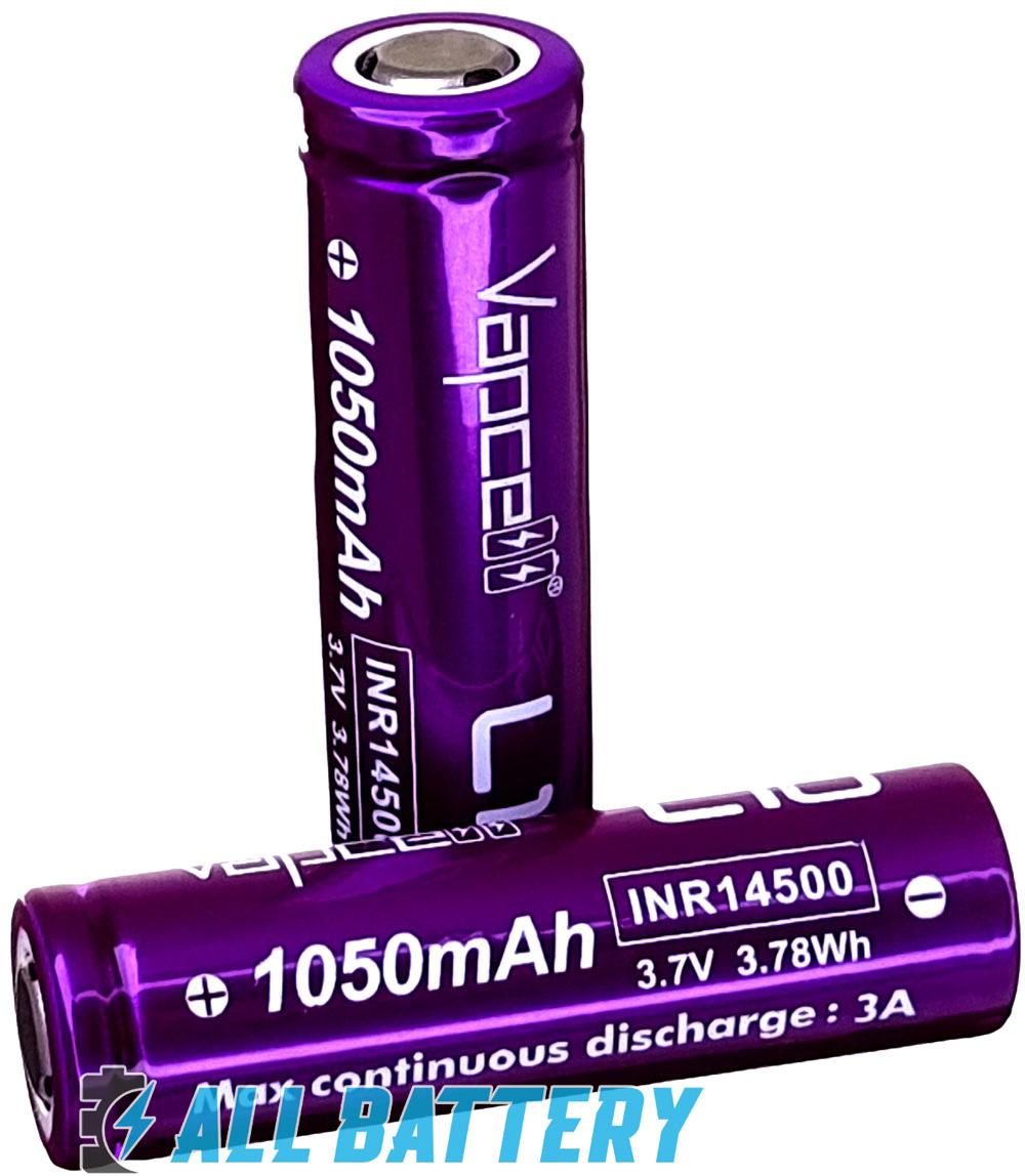 Литий-ионные аккумуляторы 14500 Vapcell L10 1050 mAh 3A 3,7В.