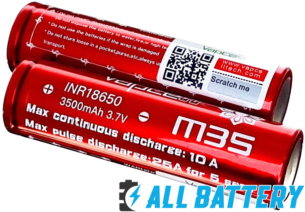 Li-Ion аккумуляторы 18650 Vapcell M35 3500 mAh QR код проверки оригинальности.
