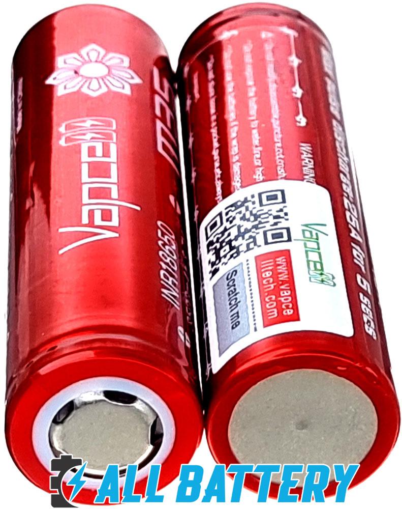Vapcell INR 18650 M35 Red 10A (25A) 3500mAh плюсовой и минусовой контакты.