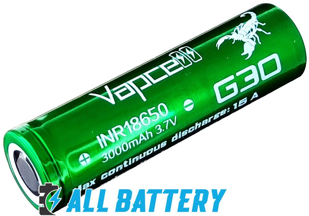 Vapcell INR 18650 G30 Green 15A (35A) 3000mAh.