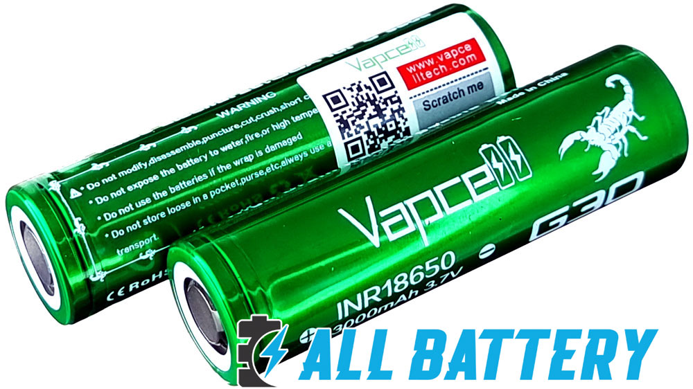 Li-Ion аккумуляторы 18650 Vapcell G30 3000 mAh QR код для проверки оригинальности.