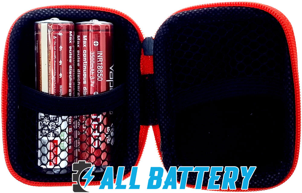VapCell M35 18650 3500 mAh INR Red 10A С защитой холдер для хранения.