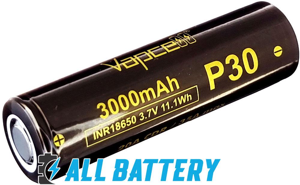 VapCell P30 3000 mAh INR 20A (35А) - высокотоковые литий-ионные аккумуляторы формата 18650.