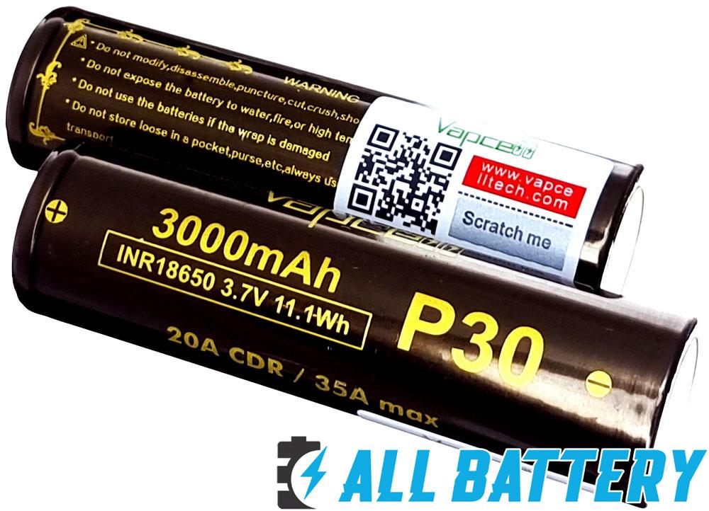 Li-Ion аккумуляторы 18650 Vapcell P30 3000 mAh.