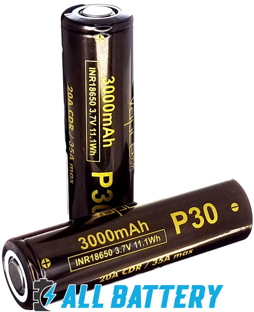 Аккумулятор 18650 VapCell P30 3000 mAh Li-Ion INR, 3.7В, 20А (35A) Высокотоковый. Аналог LG HG2.