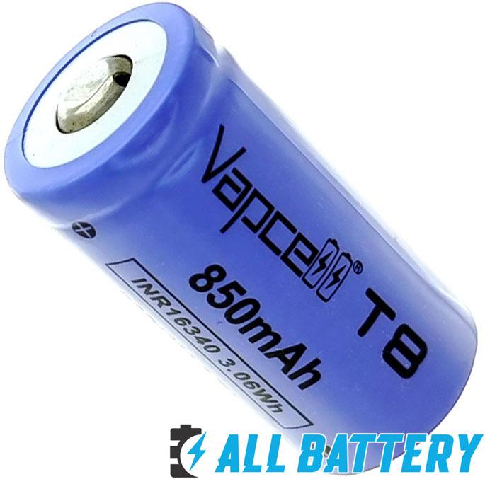 Vapcell T8 16340 3.7В Li-ion 850 mAh без защиты - литий-ионные аккумуляторы формата 16340.
