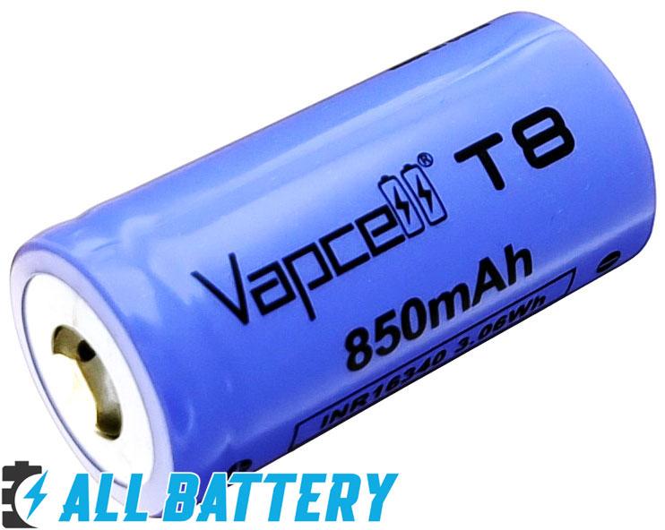 Li-Ion аккумуляторы 16340 Vapcell T8 3.7В 850 mAh без защиты.
