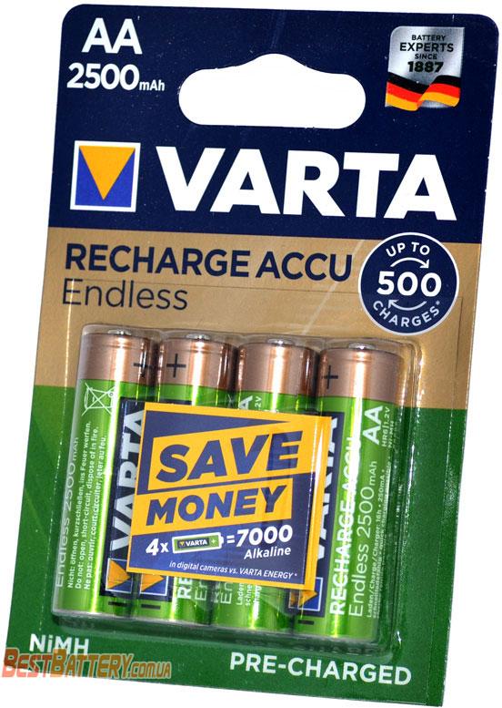 Пальчиковые аккумуляторы VARTA Endless Recharge Accu 2500 mAh в блистере (AA)