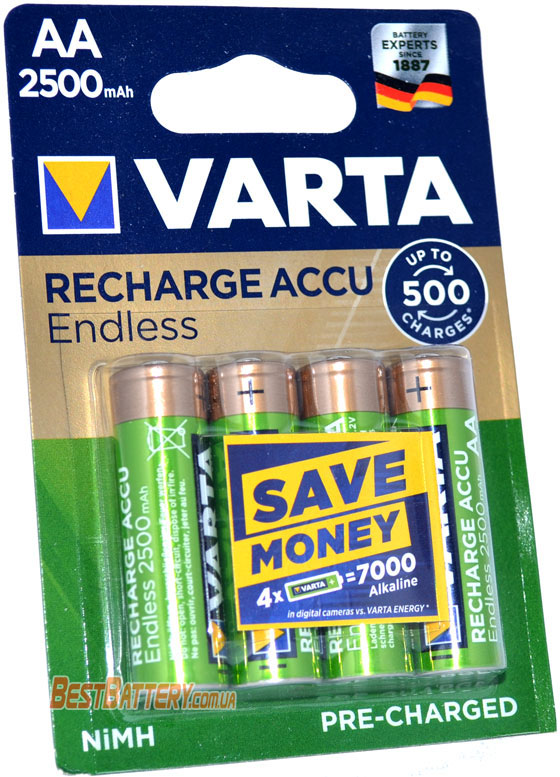 Аккумуляторы Varta Endless 2500 mAh AA LSD блистер.