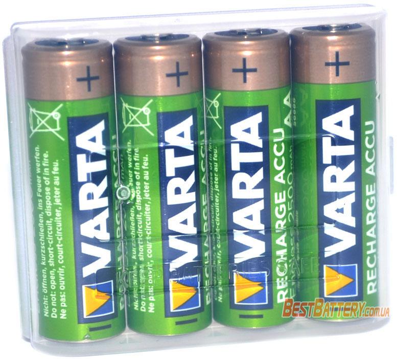 Пальчиковые аккумуляторы VARTA Endless Recharge Accu 2500 mAh в пластиковом боксе.
