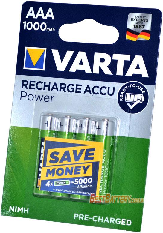 Минипальчиковые аккумуляторы Varta Pro Power 1000 mAh AAA блистер.