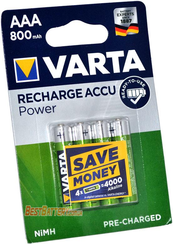 инипальчиковые аккумуляторы VARTA 800 mAh Recharge Accu Power в блистере.