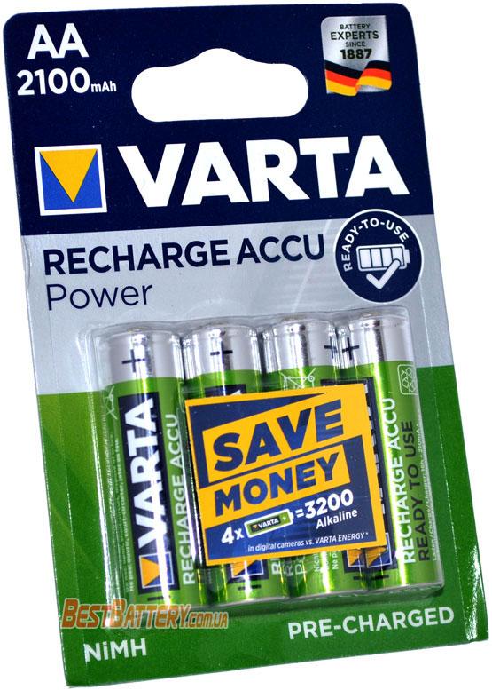 VARTA Power 2100 mAh Recharge Accu в блистере (AA) пальчиковые аккумуляторы.
