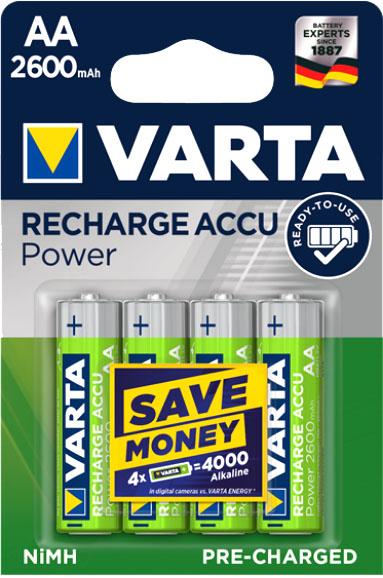 Аккумуляторы Varta Power AA 2600 в блистере.