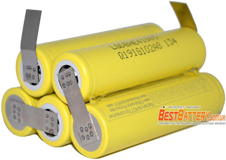 Сборка 18650 2500 mAh 18,5В 20A 5S1P LG HE4 аккумулятор для шуруповерта.