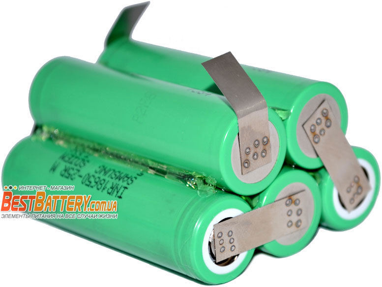 Аккумуляторная сборка для шуруповерта на 2500 mAh 18,5В 5S1P из аккумуляторов 25R.