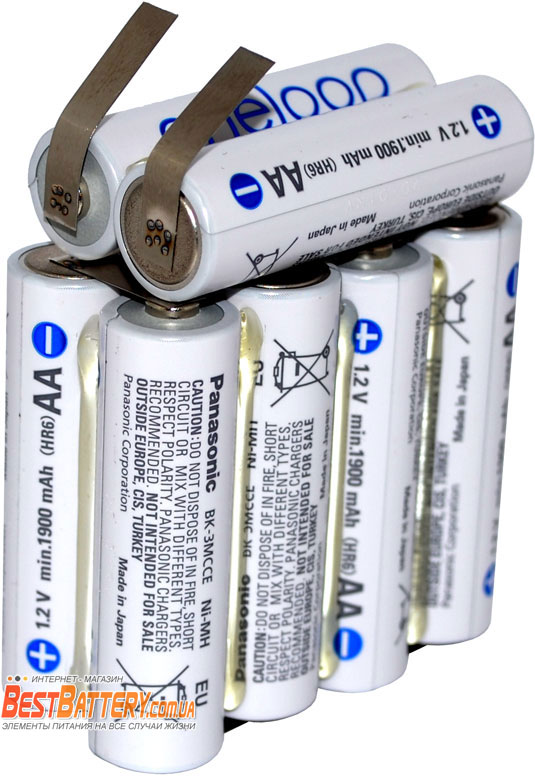 Сборка из АА аккумуляторов на 12В 2000 mAh Panasonic Eneloop AA BK-3MCCE.