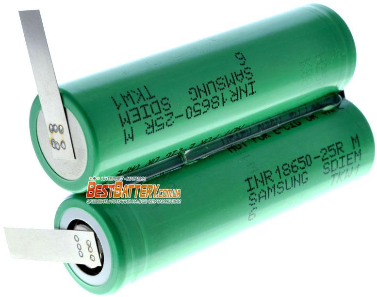 Аккумуляторная сборка на 7,4В 2500 mAh 2S1P на базе 18650 Li-Ion Samsung 25R.